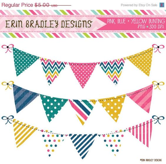 Can you use clipart for commercial use svg black and white stock Bunting Banner Clipart Graphics Pink Yellow Teal and Blue Digital ... svg black and white stock