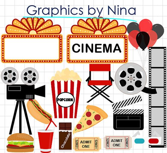 Can you use clipart for commercial use png royalty free INSTANT DOWLOAD Movie Night clipart Cinema Clipart Scrapbook for ... png royalty free