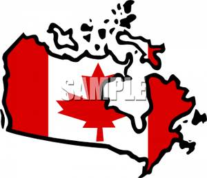 Canada country clipart vector download Clip Art Image: A Canadian Flag on the Map of Canada vector download