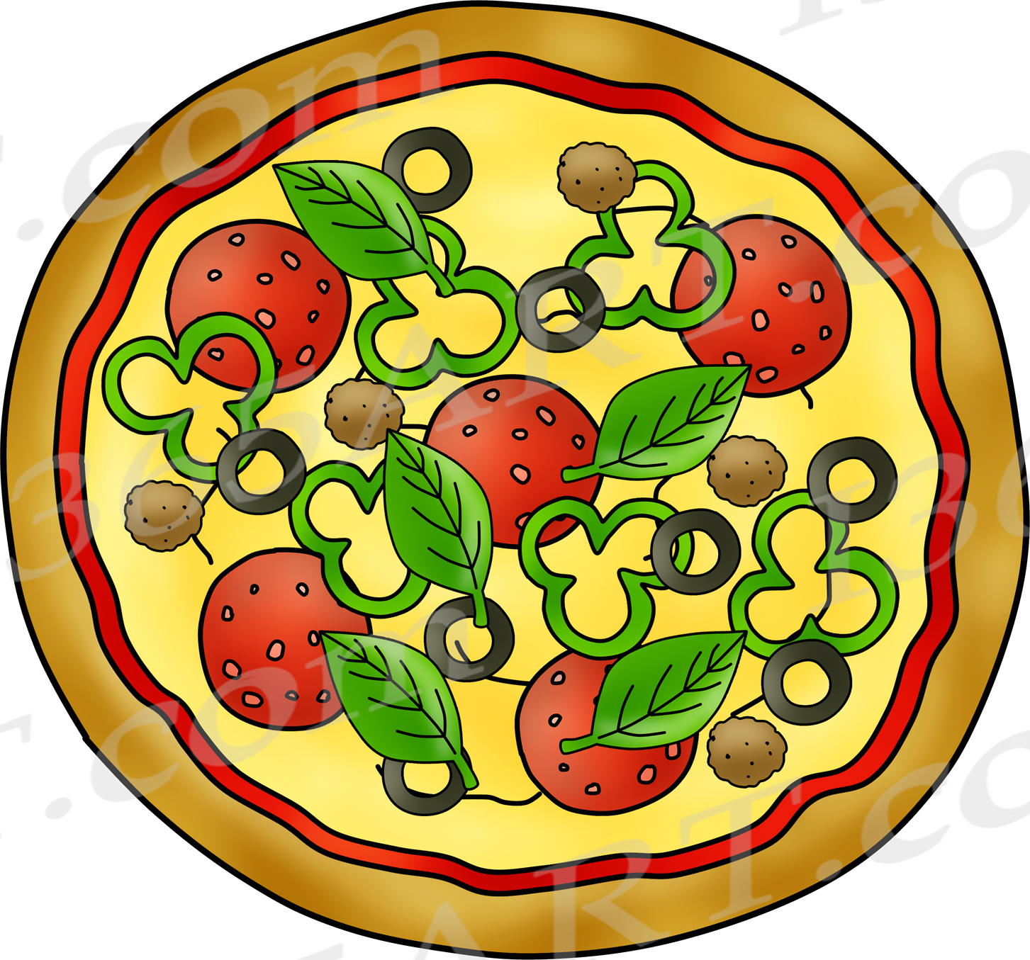 Canadian bacon clipart png black and white stock Build a Pizza Clipart Set png black and white stock