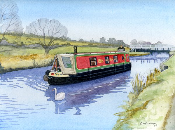 Canal barge clipart