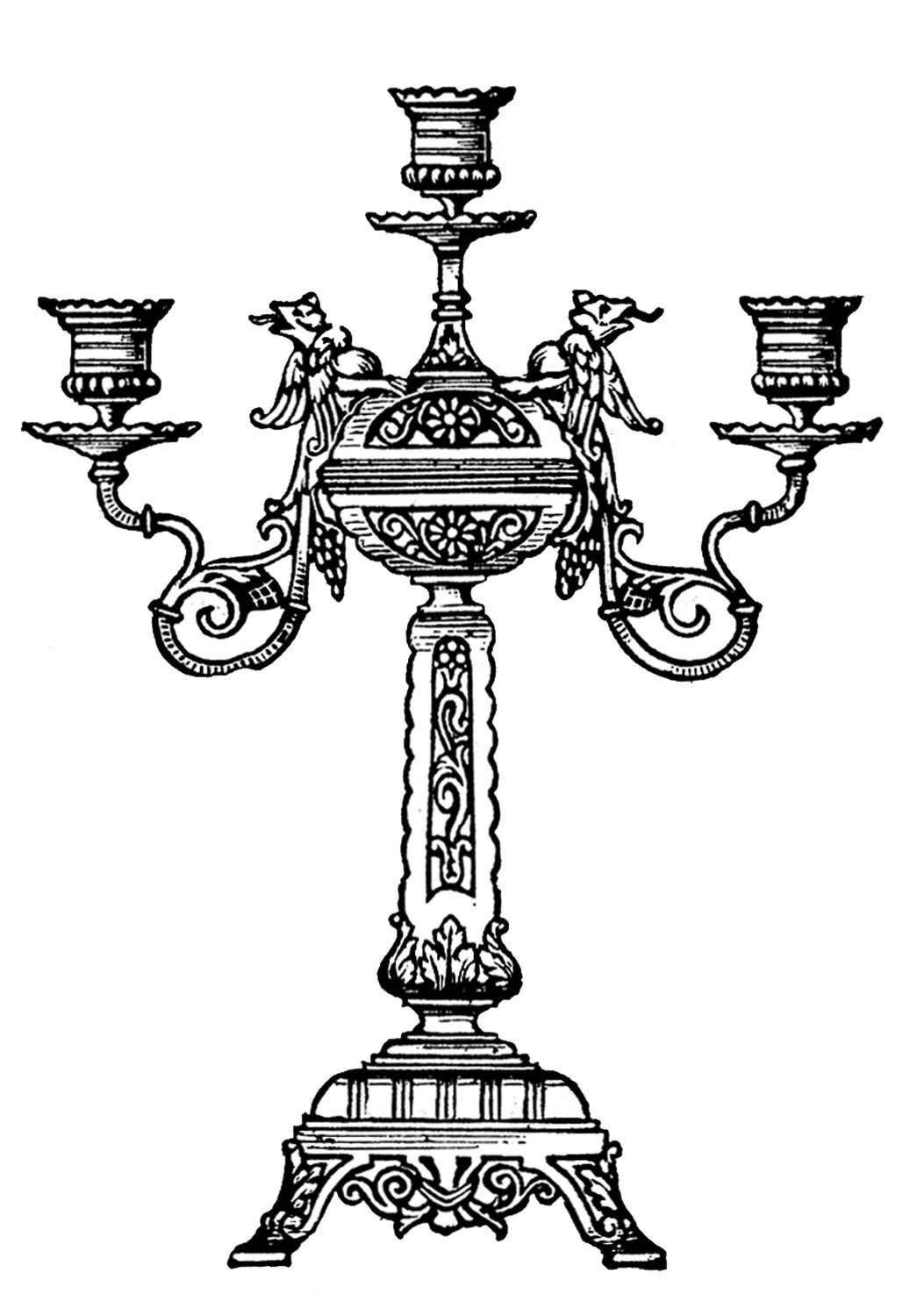 Candelabra clipart svg black and white library Vintage Clip Art - Ornate Candelabra | Clip Art | Clip art, Graphics ... svg black and white library