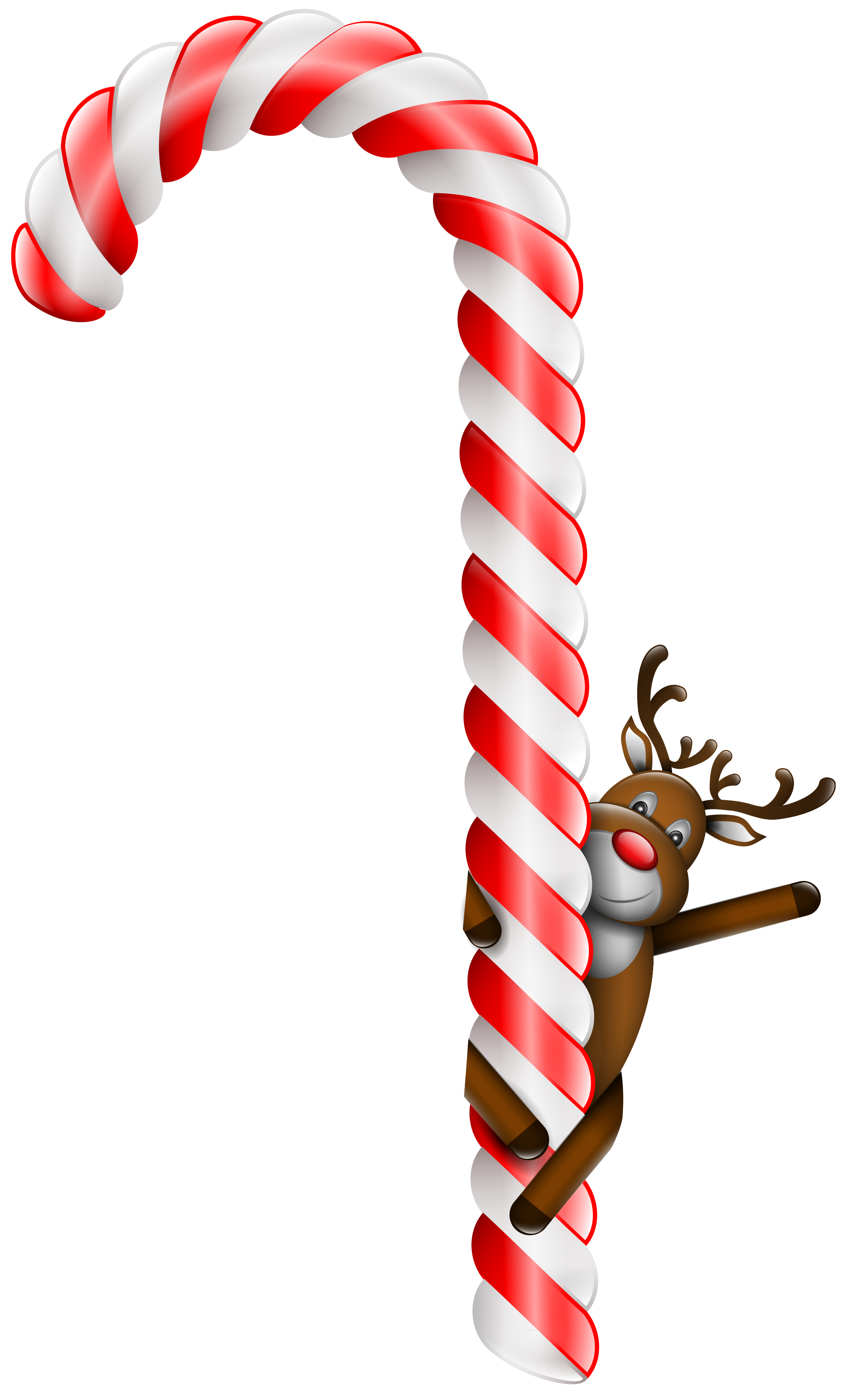 Candies clipart transparent background png free clipart transparent library Transparent Large Christmas Candy Cane with Deer PNG Clipart clipart transparent library