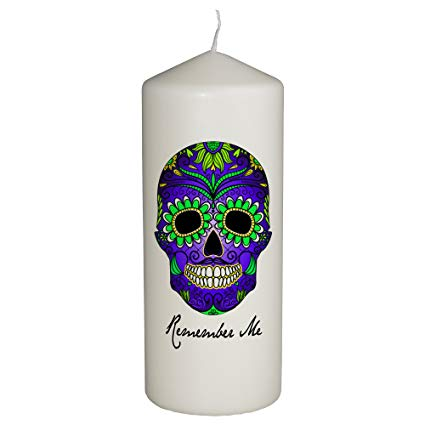 Candle clipart black and white altar dia de los muertis clip transparent download Hat Shark Remember Me Celebration Candle for Day of The Dead - Dia De Los  Muertos - Printed in Full Color 6 Inches Tall (Green and Blue) clip transparent download