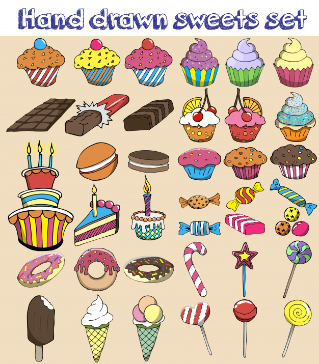 Candy and sweets clipart set free image library download Hand drawn sweets set. candy, sweets, lollipop, cake, cupcake, donut ... image library download