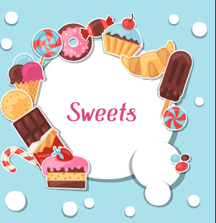 Candy and sweets clipart set free banner royalty free stock Candy and sweets vector background set Free vector in Encapsulated ... banner royalty free stock