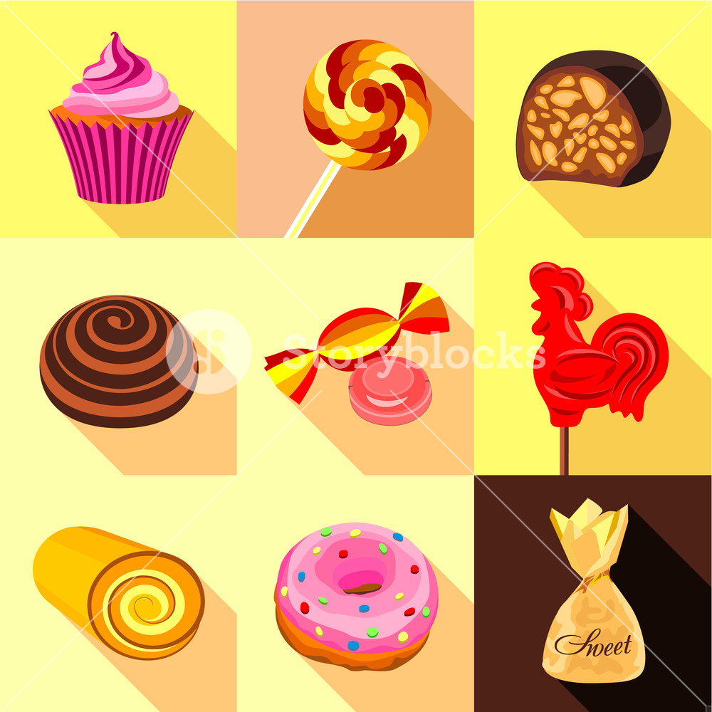 Candy and sweets clipart set free clipart Sweets and candy icons set. Flat set of 9 sweets and candy icons for ... clipart