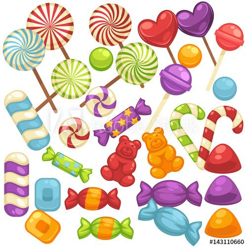 Candy and sweets clipart set free banner transparent library Candy and caramel sweets vector isolated flat icons set | candy ... banner transparent library