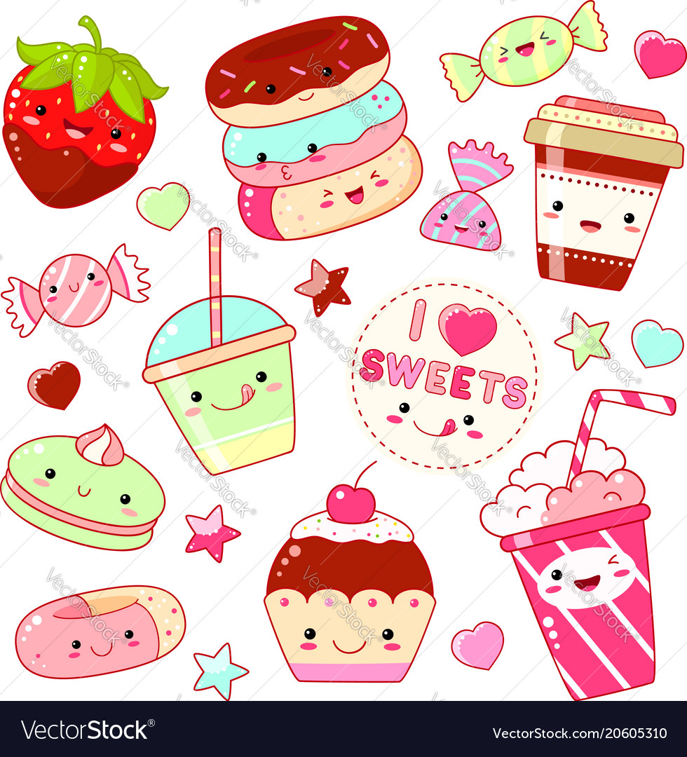 Candy and sweets clipart set free image royalty free stock Set of cute sweet icons in kawaii style image royalty free stock
