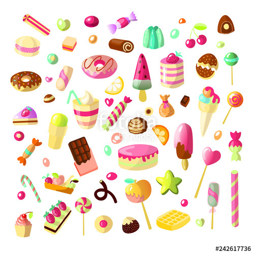 Candy and sweets clipart set free clip art free library Sweet cartoon candy set. Collection of sweets, cartoon style. Jelly ... clip art free library