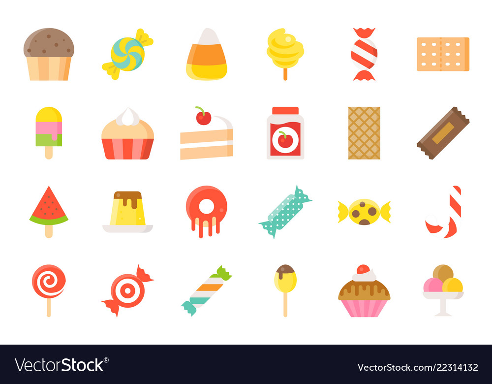 Candy and sweets clipart set free vector library download Sweets and candy icon set 22 flat style vector library download