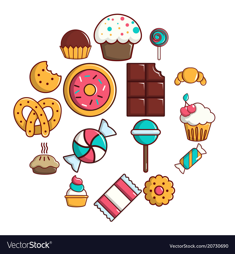 Candy and sweets clipart set free image free library Sweets candy cakes icons set cartoon style image free library