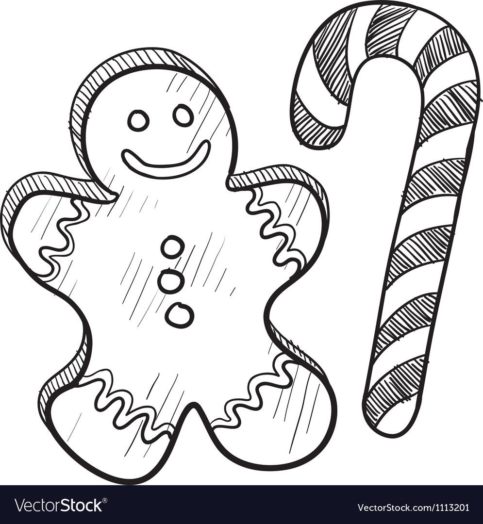 Candy cane doodle clipart clipart library download Doodle gingerbread man candy cane clipart library download