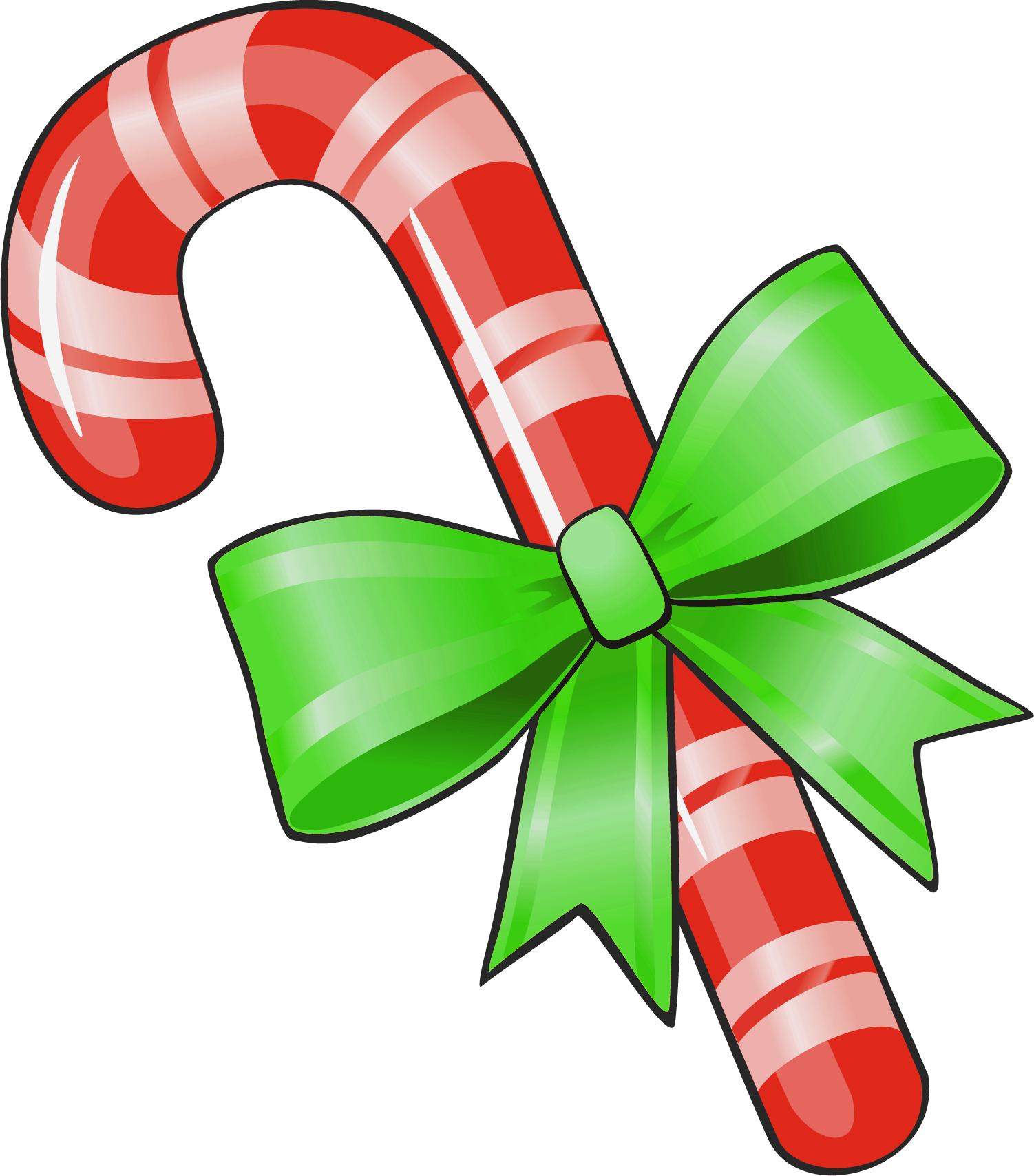 Candy cane heart clipart free image library download Transparent Christmas Candy Cane with Green Bow PNG Clipart ... image library download