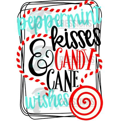 Candy cane kisses clipart banner black and white library Peppermint Kisses and Candy Cane Wishes banner black and white library
