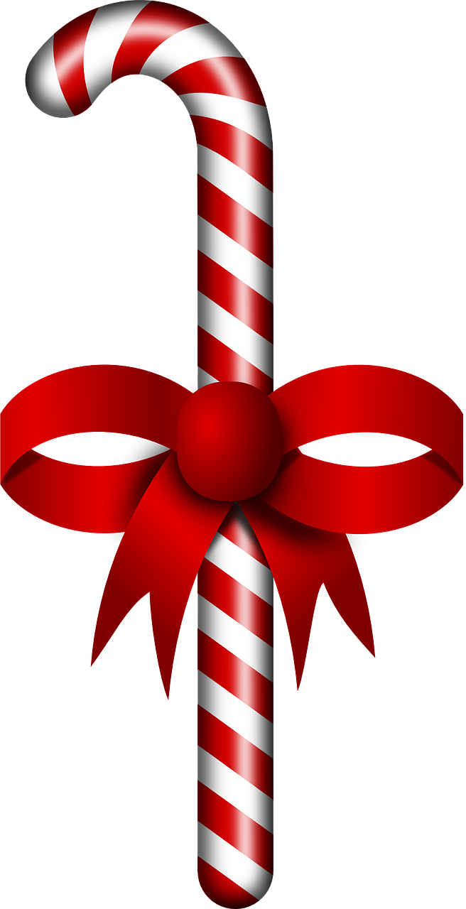 Candy cane ribbon clipart vector freeuse download Free Candy Cane With Ribbon Clip Art - Free Clipart vector freeuse download