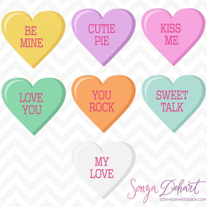 Candy hearts clip art vector Clip Art Vector Valentine's Day Conversation Candy Hearts vector