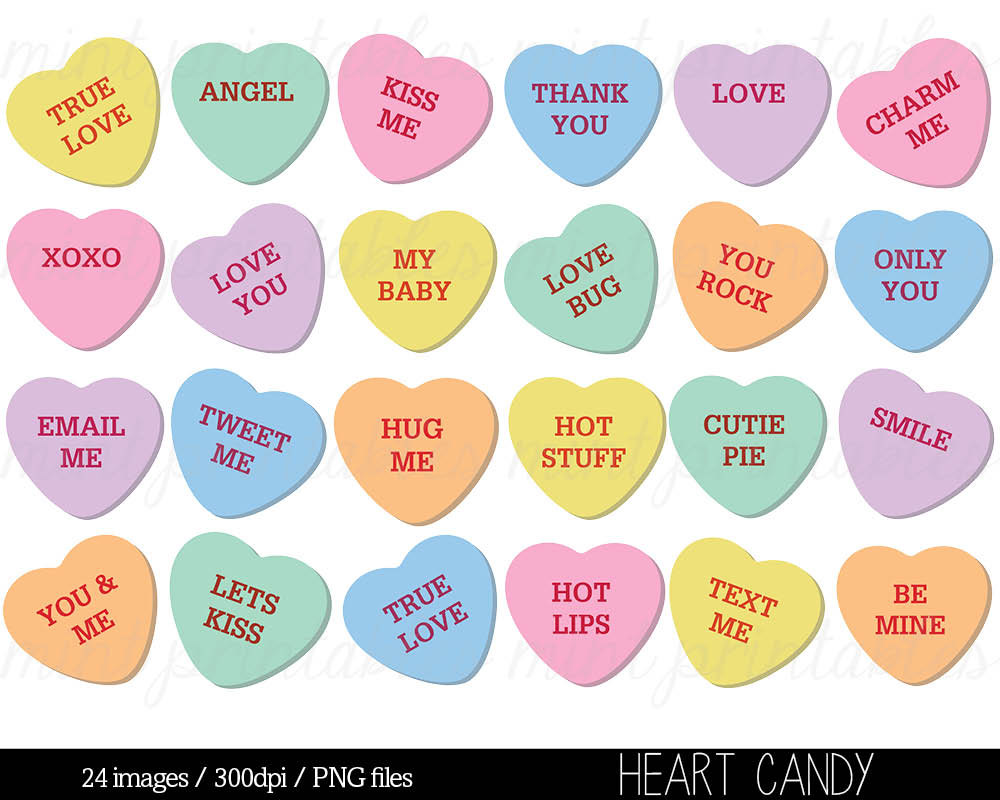 Candy hearts clip art clipart transparent download Candy heart clipart | Etsy clipart transparent download