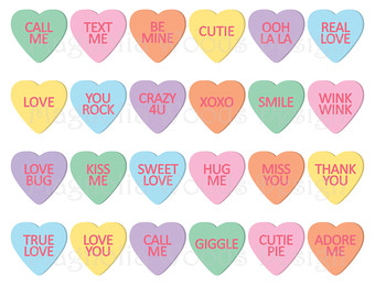 Candy hearts clip art clipart library library Candy heart clipart | Etsy clipart library library
