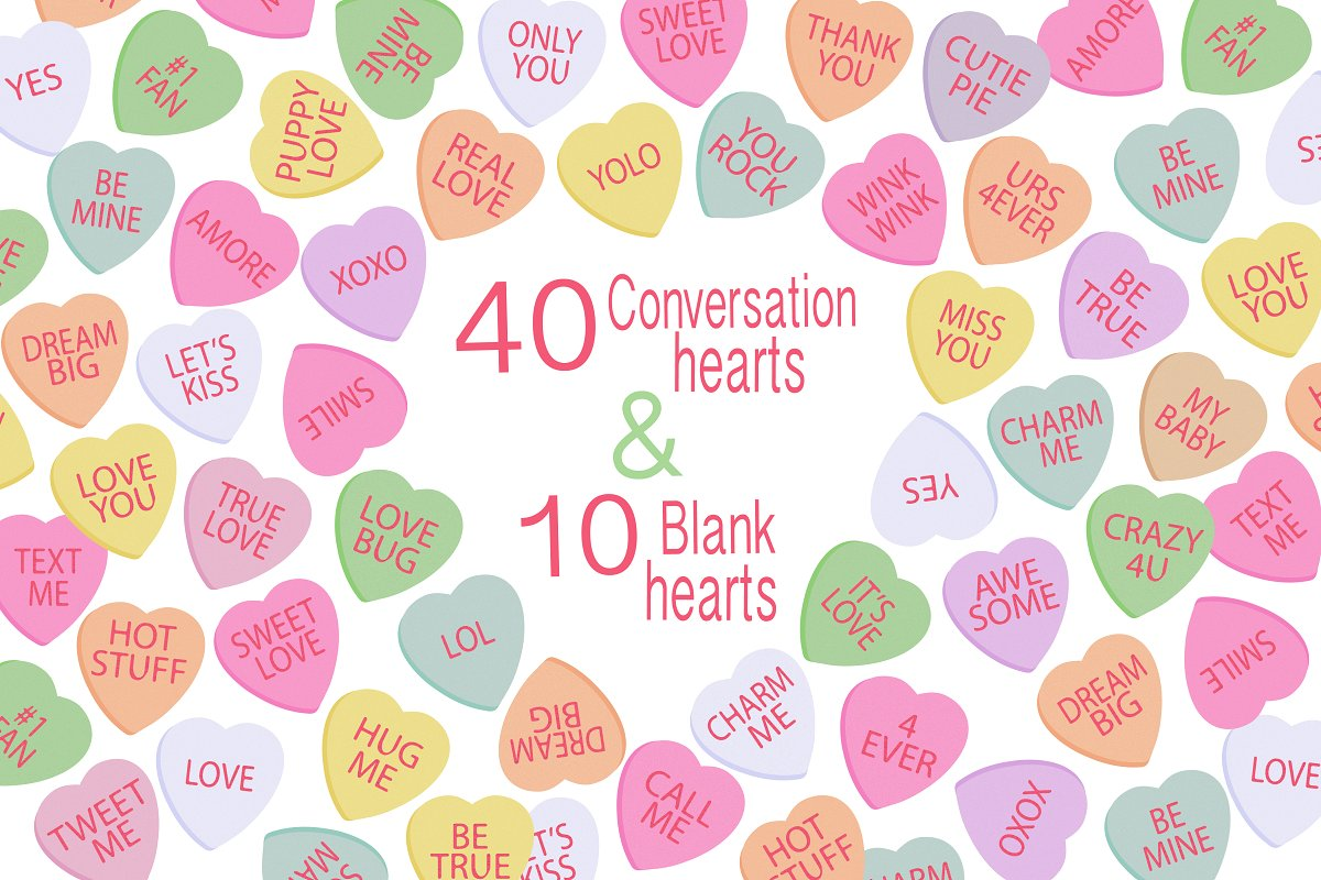 Candy hearts clipart svg transparent Valentine Clipart - Candy Hearts svg transparent