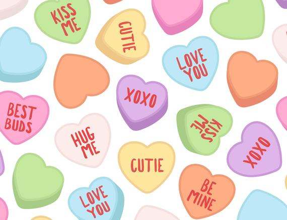 Candy hearts clipart vector Candy Heart Clipart Coversation Valentine Etsy Classic Hearts Clip ... vector