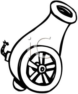 Cannon clipart black and white image transparent download Clip Art Image: A Black and White Cannon image transparent download