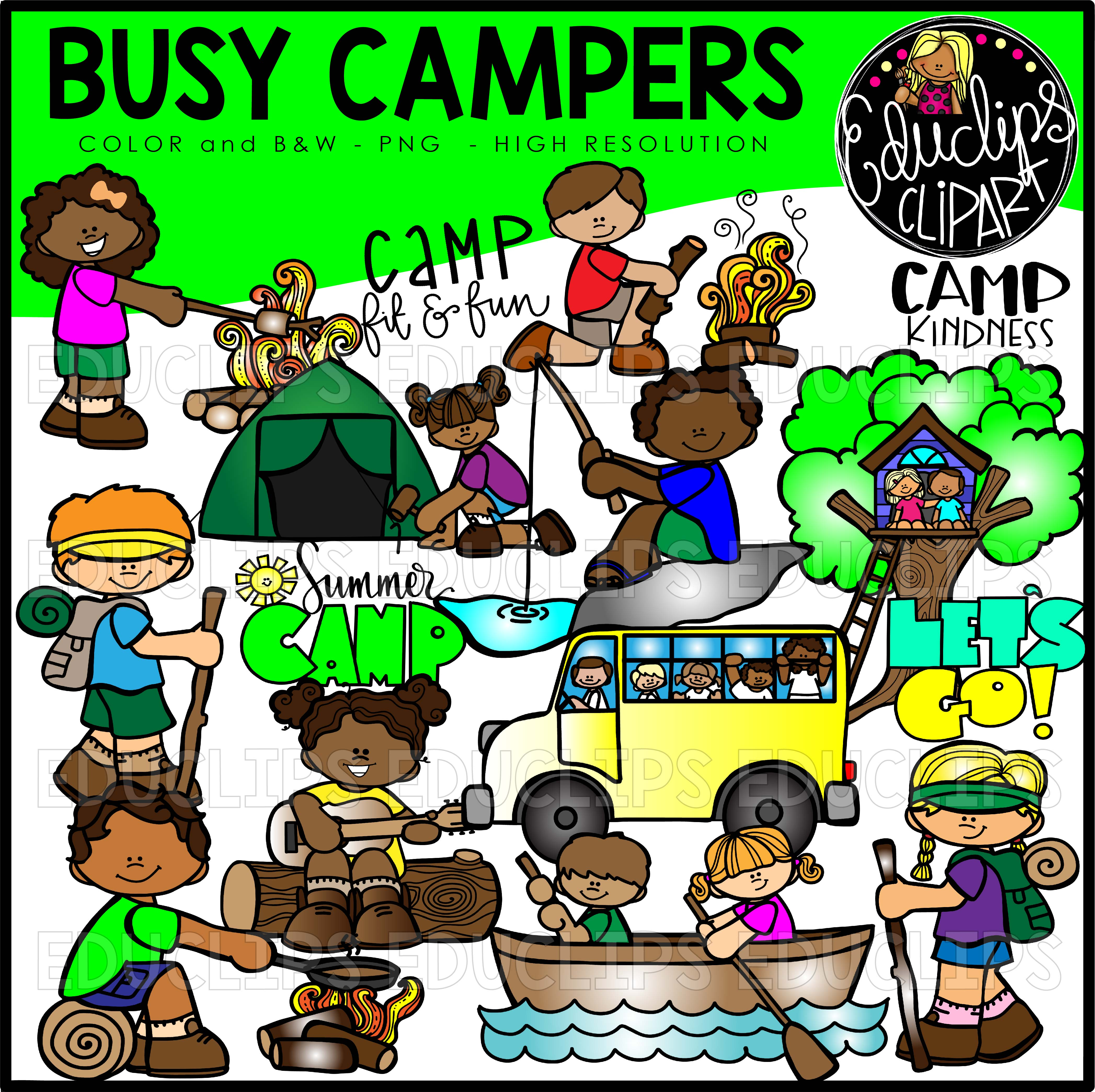 Canoe camp song clipart banner freeuse stock Busy Campers Clip Art Bundle (Color and B&W) banner freeuse stock
