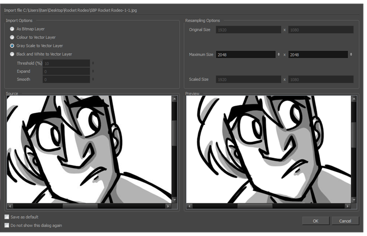 Cant import cliparts or jpegs into toon boom png transparent download Storyboard Pro 5.1 Online Help: Setting Vectorization Options png transparent download
