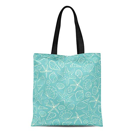 Canvas bag clipart graphic freeuse download Semtomn Canvas Tote Bag Shoulder Bags Blue Clipart From Sea Shells and  Stars Marine Women\'s Handle Shoulder Tote Shopper Handbag graphic freeuse download