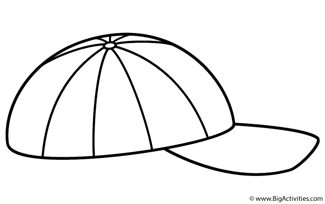 Cap coloring pages clipart image library download Baseball Cap - Coloring Page (Father\'s Day) image library download
