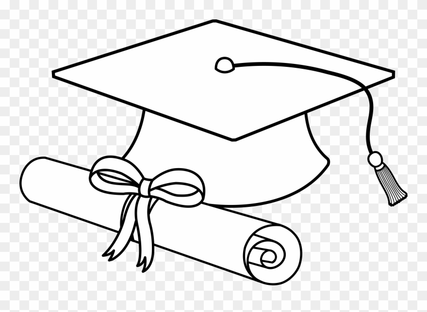 Gradation nursing cliparts black and whtie black and white library Flying Graduation Caps Clip Art Cap Line - Diploma And Cap Drawing ... black and white library