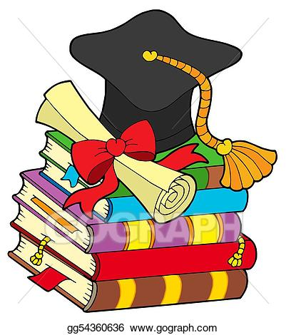 Cap scroll clipart cash jpg free download Clipart - Graduation hat on pile of books. Stock Illustration ... jpg free download