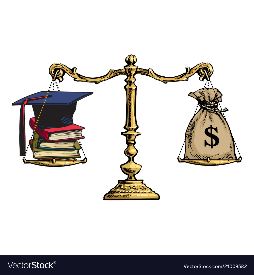 Cap scroll clipart cash vector royalty free Graduation cap books and sack of dollars on Vector Image vector royalty free