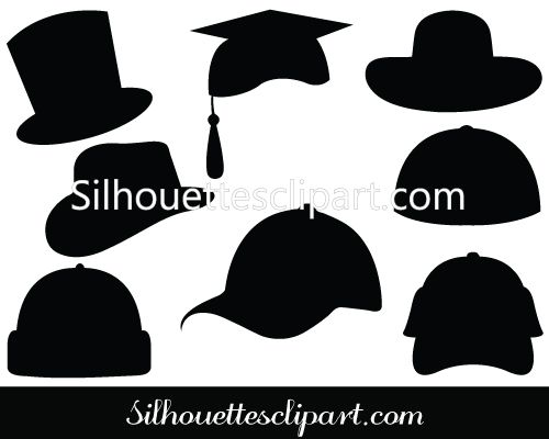 Cap vector clipart clipart black and white stock Hat Silhouette Vector Clipart | Logo | Silhouette vector, Vector ... clipart black and white stock