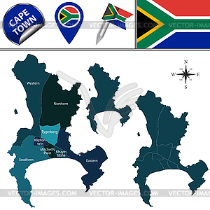 Cape town clipart picture royalty free stock Map of Cape Town with Subdistricts - vector clipart picture royalty free stock