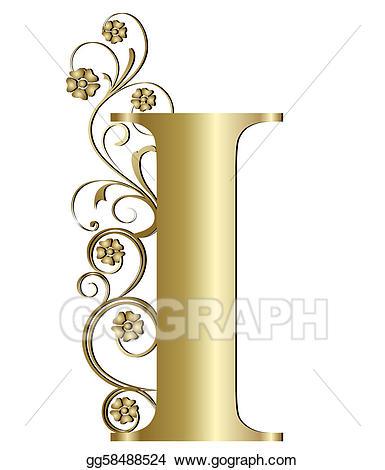 Capital letter i clipart png transparent library Stock Illustration - Capital letter i gold. Clipart Illustrations ... png transparent library