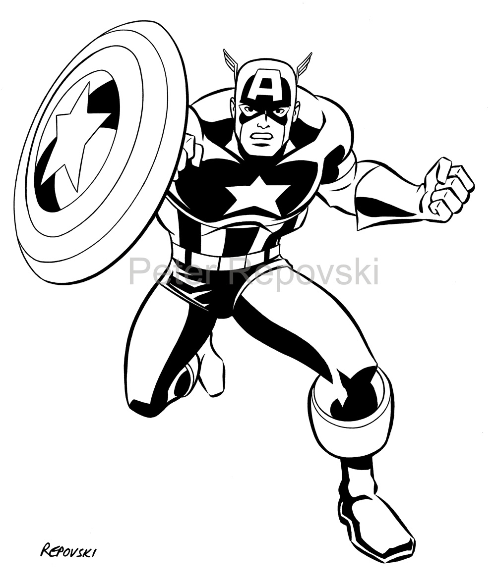 Captain america face clipart black and white png free library svart oransje hvit captain america png free library