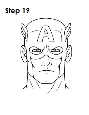 Captain america face clipart black and white simple