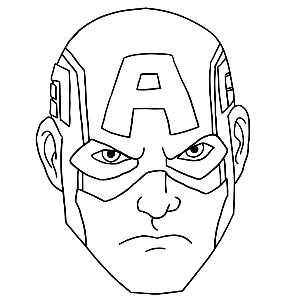 Captain america face clipart black and white picture free library Captain America Face Drawing at PaintingValley.com | Explore ... picture free library