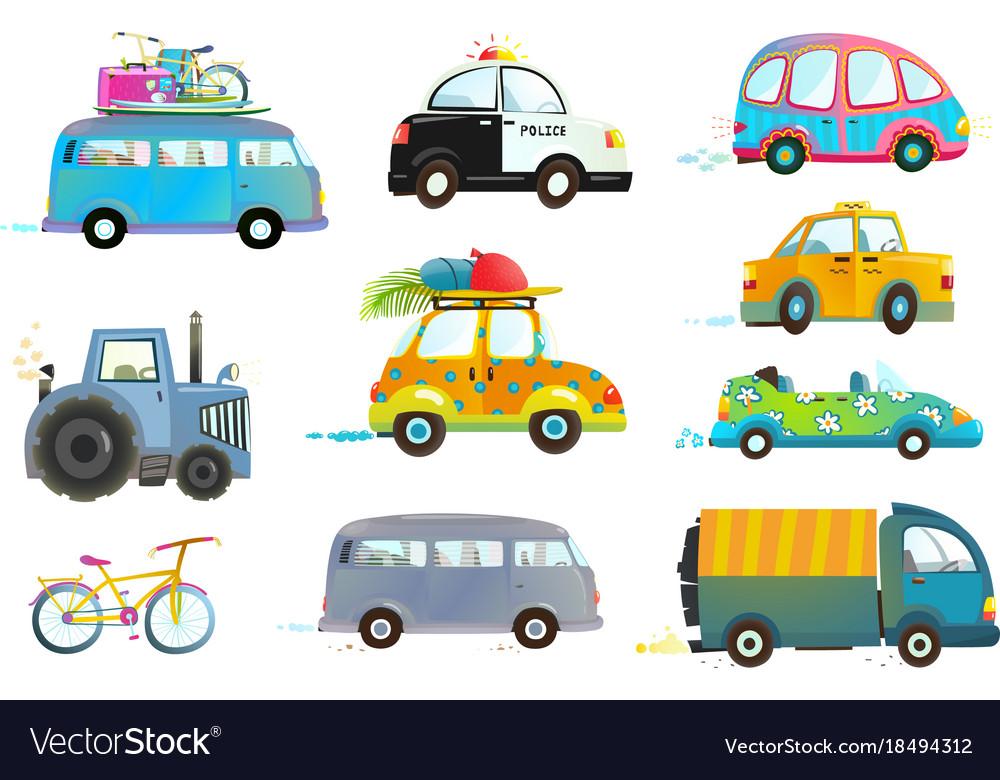 Car and bike clipart jpg free stock Car bus taxi police truck bicycle clipart jpg free stock