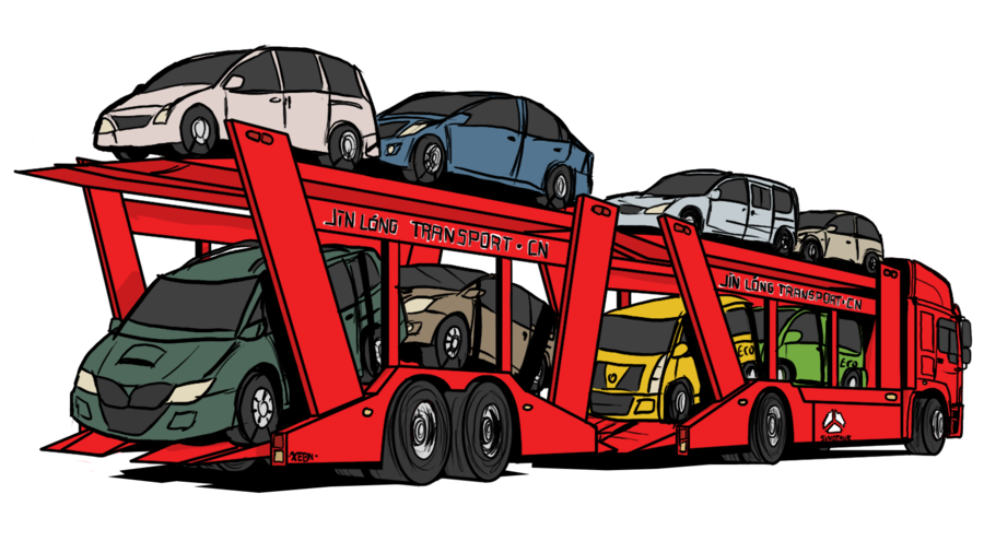 Car carrier clipart clip royalty free Sinotruk - Red dragon car carrier by VachalenXEON on DeviantArt clip royalty free