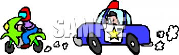 Car chase clipart. Police chasing a speeder