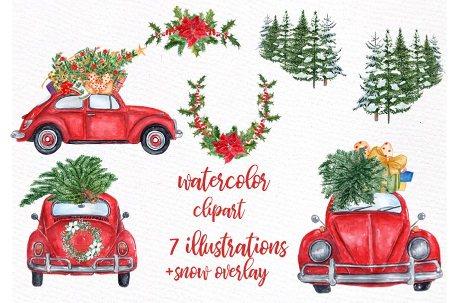 Car christmas clipart svg free Watercolor Christmas Cars Clipart ~ Illustrations ~ Creative Market svg free