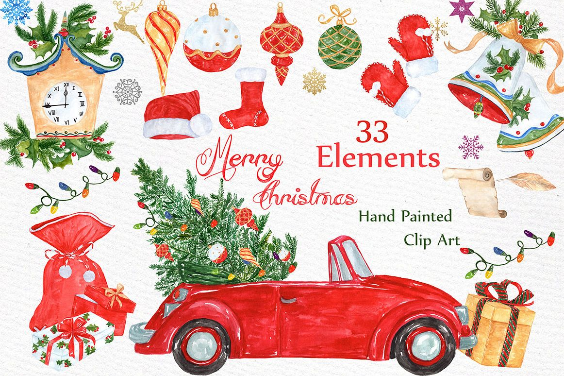 Car christmas clipart picture stock Watercolor Christmas clipart picture stock