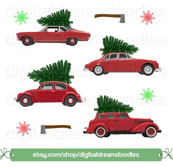 Car christmas clipart banner free download Christmas Car Tree Clipart, Xmas Car Tree Graphic, Holiday Cars ... banner free download