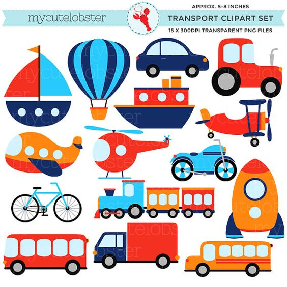Car clipart for commercial use vector royalty free Transport Clipart Set - clip art set of transportation, vehicles ... vector royalty free