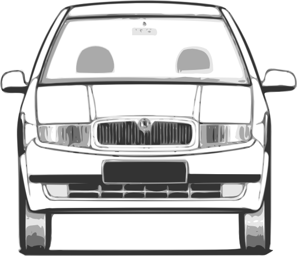 Car front view clipart black and white library Fabia Front View Clip Art at Clker.com - vector clip art online ... black and white library