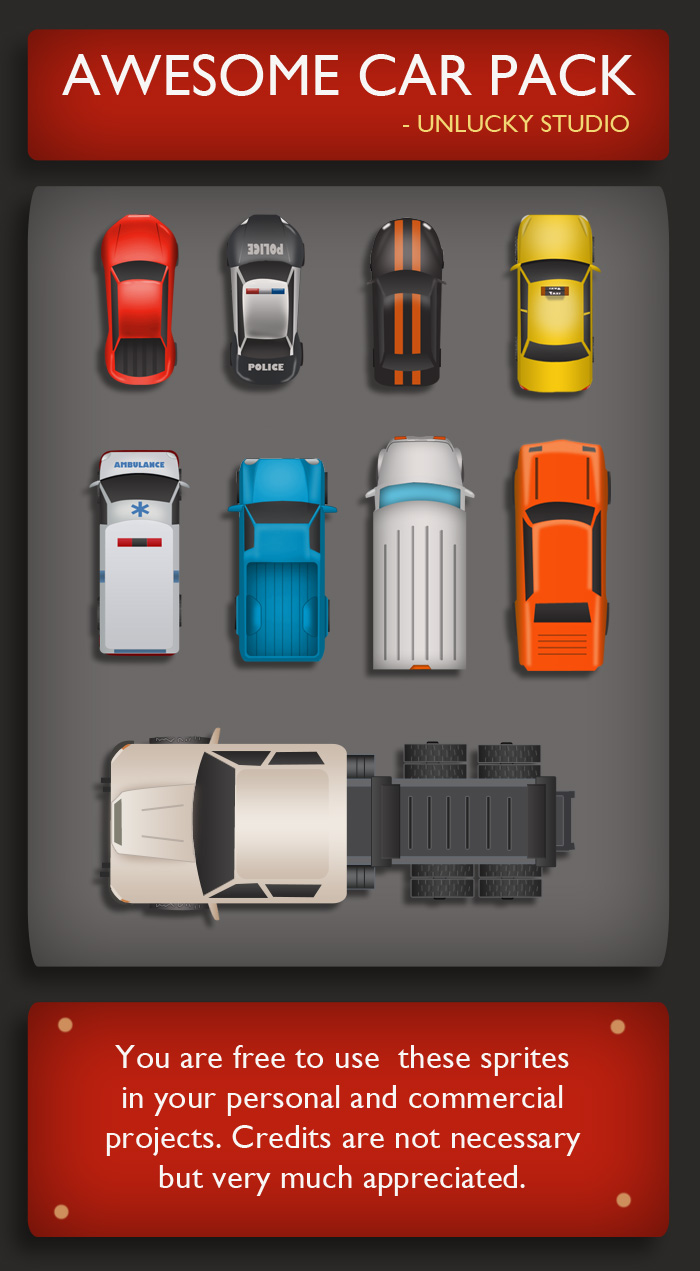 Car clipart sprite sheet free download Free Top Down Car Sprites by Unlucky Studio | OpenGameArt.org free download