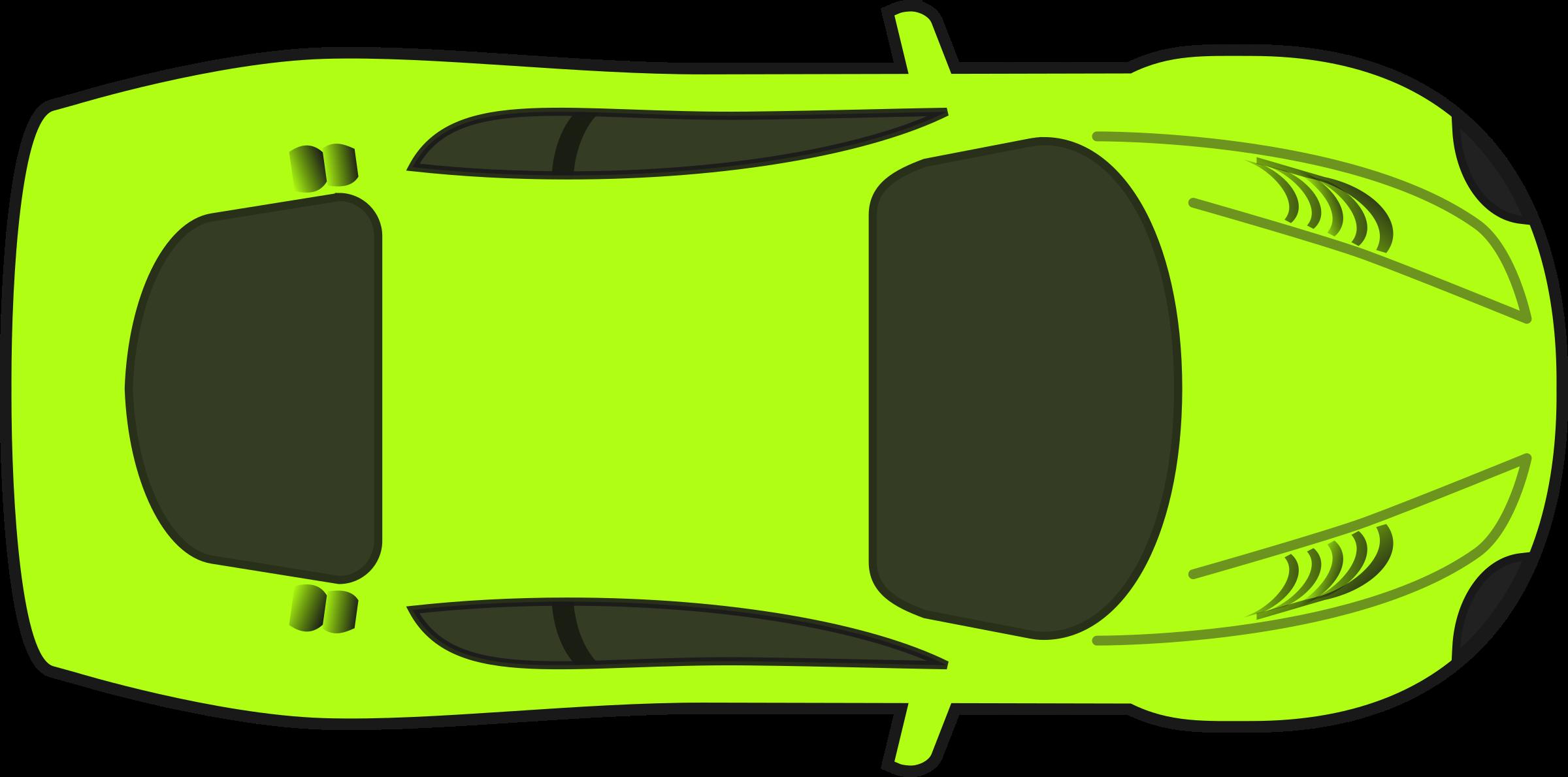 Car clipart top view vector transparent download Clipart - Bright Green Racing Car (Top View) vector transparent download