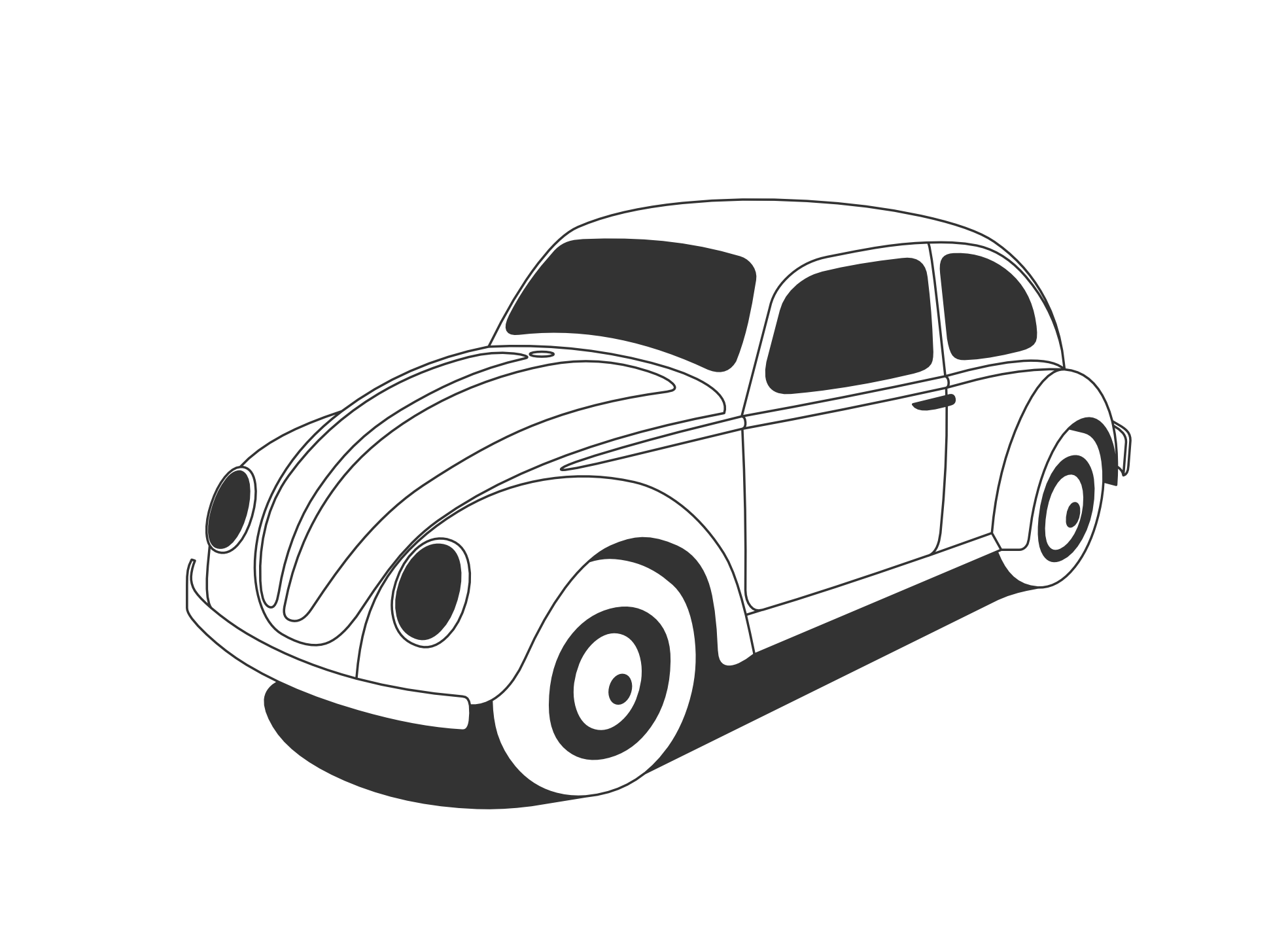 Wedding car clipart vector free download Vector classic car clipart black and white vector free download